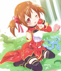 1girl ayakashi_(monkeypanch) black_legwear brown_hair chest_plate detached_sleeves dragon fingerless_gloves gloves grass highres looking_at_viewer one_eye_closed pina_(sao) pleated_skirt red_eyes silica sitting skirt sword_art_online thighhighs twintails wariza wet wet_clothes zettai_ryouiki