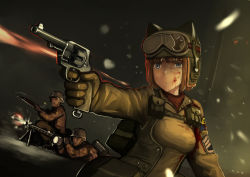 1girl 2boys :o aiming animal_ears animal_hat battle blonde_hair blood blood_on_face bloody_clothes blue_eyes bolt_action dark erica_(naze1940) firing gloves goggles goggles_on_head gun handgun hat helmet highres injury kneeling lying machine_gun mauser_98 mg42 military military_uniform multiple_boys pistol pouch revolver short_hair smith&wesson_m1917 snow snowing soldier strike_witches uniform war weapon