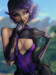 1girl bare_shoulders belt breasts cleavage cleavage_cutout eyelashes highres invisible jellyemily lips looking_to_the_side medium_breasts paladins pointy_ears purple_eyes purple_hair short_hair skin_tight skye_(paladins) smile solo