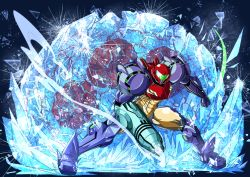 1girl alien arm_cannon armor clenched_hand frozen full_armor gravity_suit ice metroid metroid_(creature) nomayo power_armor power_suit samus_aran shattering shoulder_pads steam weapon