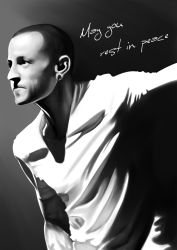 1boy absurdres chester_charles_bennington ear_piercing english highres linkin_park male_focus piercing realistic shaved_head shirt super_joannco white_shirt