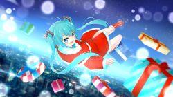 1girl absurdres christmas hatsune_miku highres landscape long_hair ray-en solo vocaloid