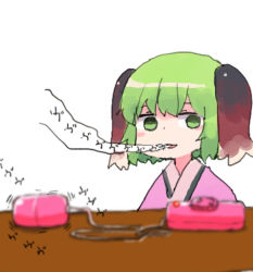 animal_ears blush_stickers green_eyes kasodani_kyouko solo touhou vibrator yunuki_uta