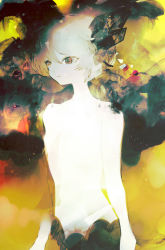 1girl abstract_background anabone brown_eyes ears expressionless original shirtless short_hair solo white_hair