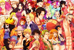6+boys 6+girls abs afro bandanna beard belly bikini_top black_eyes black_hair blonde_hair blue_eyes blue_hair boa_hancock brook brothers cleavage clenched_teeth cyborg donquixote_doflamingo donquixote_rocinante dracule_mihawk edward_newgate eyes_closed feathered_wings flower franky freckles goatee green_hair hat headphones koala_(one_piece) long_hair looking_at_viewer marco midriff monet_(one_piece) monkey_d_luffy multiple_boys multiple_girls muscle muscular mustache nami_(one_piece) navel nefertari_vivi nico_robin one_piece orange_hair pearl_necklace perona pink_hair portgas_d_ace princess raccoon red_hair roronoa_zoro sabo_(one_piece) sanji scar scratch shanks shirahoshi short_hair siblings skeleton straw_hat sunglasses tanuki tattoo teeth tony_tony_chopper trafalgar_law umbrella usopp very_long_hair wavy_hair wings