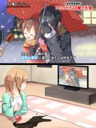 1boy 2girls asuna_(sao) black_hair blush braid brown_eyes brown_hair comic commentary_request couple covering_face embarrassed glass gloves indoors interview kirito long_hair long_sleeves meso-meso microphone multiple_girls open_mouth outdoors parody ribbon scarf shared_umbrella silica sky smile snow snowing special_feeling_(meme) stitched sword_art_online television translation_request twintails umbrella