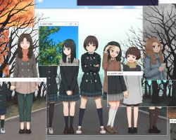 6+girls autumn bare_tree black_hair brown_eyes brown_hair cherry_blossoms child commentary_request crossed_arms graduation hand_holding long_hair looking_at_another multiple_girls original road scarf school_uniform seasons short_hair smile spring_(season) summer thighhighs time_paradox tree windows winter yajirushi_(chanoma) yuri