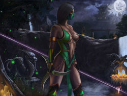 3boys 4girls armlet armpits baraka bare_legs bare_shoulders breasts broom choker cleavage cross-laced_clothes crossover dark_skin elbow_gloves female gloves green_clothes green_eyes half_mask harry_potter highres holding holding_weapon jade_(mortal_kombat) kitana large_breasts legs long_hair looking_at_viewer mask mileena moon mortal_kombat multiple_boys multiple_girls navel neck no_bra outdoors ponytail realistic reclining reptile_(mortal_kombat) revealing_clothes scorpion_(mortal_kombat) sindel sktneh sky staff standing sword toned weapon
