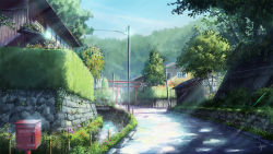 artist_name bridge bush fence flower house mailbox niko_p no_humans original power_lines road scenery signature sky telephone_pole torii town tree water