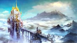bridge castle clouds final_fantasy final_fantasy_xiv highres mountain official_art scenery square_enix