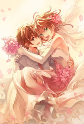 1boy 1girl bare_shoulders bridal_veil carrying couple dress elbow_gloves feng_you flower gloves hetero highres necktie petals princess_carry sakura_hime short_hair strapless strapless_dress tsubasa_chronicle veil wedding_dress white_dress xiaolang