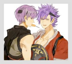 2boys candy eating fire_emblem fire_emblem_if food gurei_(fire_emblem_if) headband japanese_clothes looking_at_viewer multiple_boys purple_hair shinonome_(fire_emblem_if) shourou_kanna simple_background smile white_background
