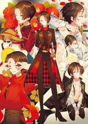 1boy bitikara blood blood_on_face bloody_clothes boots brown_hair camellia_(flower) earrings finger_to_mouth flower hat high_heel_boots high_heels highres jacket_on_shoulders japanese_clothes jewelry kashuu_kiyomitsu katana male_focus mole mole_under_mouth multiple_persona nail_polish one_eye_closed open_clothes open_mouth open_shirt pants petals ponytail ready_to_draw red_eyes red_nails red_rose rose scarf seiza sheath sheathed shirt sitting smile sun_hat sunglasses sword torn_clothes torn_pants touken_ranbu towel uchiko weapon