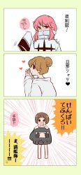 3girls 3koma comic heart jakuzure_nonon kill_la_kill mankanshoku_mako mankanshoku_sukuyo multiple_girls oversized_clothes rijin translation_request