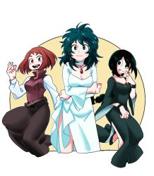3girls :p alternate_costume asui_tsuyu blush boku_no_hero_academia braiding_hair breasts brown_eyes brown_hair cleavage dress earrings finger_to_mouth freckles genderswap green_eyes green_hair hairdressing jewelry long_hair long_sleeves looking_at_viewer midoriya_izuku multiple_girls necklace silverstar017 simple_background sweatdrop tongue tongue_out uraraka_ochako wavy_mouth white_background white_dress wide_sleeves
