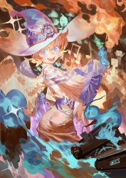 absurdres ass blue_eyes dress freckles hat highres little_witch_academia lotte_yanson orange_hair short_hair skirt smile spirit wings witch_hat yotsuyu