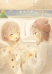 2girls beanie blush brown_hair buttons christmas christmas_tree english eyes_closed fang foomi fur_trim happy hat heart heart_necklace highres holding_necklace hooded_jacket jacket multiple_girls open_clothes open_jacket open_mouth original short_hair sketch smile sweater winter_clothes yuri
