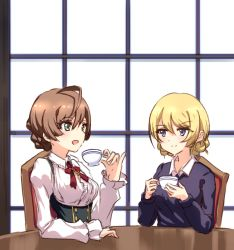 2girls ahoge bangs blonde_hair blue_eyes blue_sweater blush braid breasts buttons center_frills chair crossover cup darjeeling dress_shirt eyebrows_visible_through_hair girls_und_panzer green_eyes hexunart holding holding_cup idolmaster idolmaster_million_live! indoors jewelry light_brown_hair medium_breasts multiple_girls neck_ribbon necklace open_mouth pinky_out puffy_sleeves red_ribbon ribbon sakuramori_kaori shirt side_braid sitting smile suspenders sweater swept_bangs table teacup trait_connection window