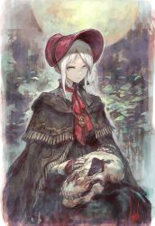 1girl bangs bloodborne bonnet cloak doll_joints expressionless from_software lack plain_doll skull solo swept_bangs white_hair