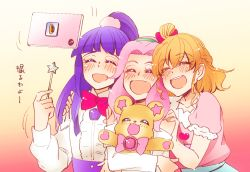 3girls :d asahina_mirai blonde_hair blush bow braid cellphone cellphone_camera eyes_closed hairband half_updo hanami_kotoha highres izayoi_liko long_hair mahou_girls_precure! mofurun_(mahou_girls_precure!) multiple_girls open_mouth phone pink_hair precure purple_hair self_shot smile sorato_(astllatte) tablet_pc taking_picture translation_request wand