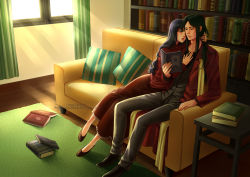 1boy 1girl 2013 alexielart artist_name book couch couple dress fate/stay_night fate/zero fate_(series) lord_el-melloi_ii tohsaka_rin watermark waver_velvet web_address window