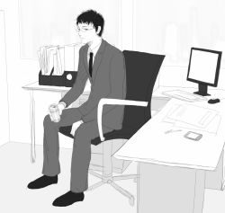 1boy black_hair can chair computer computer_keyboard computer_mouse desk formal glasses holding_can indoors monitor monochrome necktie office office_chair original papers pda pen re:i sitting solo suit