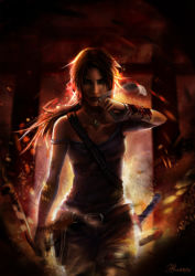 1girl blood bow brown_eyes brown_hair fire lara_croft long_hair looking_at_viewer open_mouth smoke solo standing tank_top tomb_raider weapon