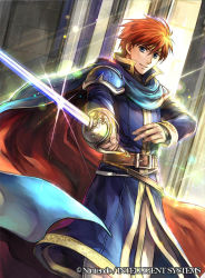 1boy blue_eyes cape copyright_name eliwood_(fire_emblem) fire_emblem fire_emblem:_rekka_no_ken fire_emblem_cipher light_rays looking_at_viewer male_focus official_art rapier red_hair solo standing sword wada_sachiko wadadot_lv weapon