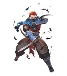 1boy dagger fire_emblem fire_emblem_heroes fire_emblem_if full_body gloves highres lack male_focus mask official_art one_eye_closed red_eyes red_hair saizou_(fire_emblem_if) sandals scar scarf socks solo torn_clothes transparent_background weapon