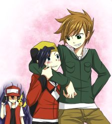 3boys gold_(pokemon) hat jealous male_focus multiple_boys ookido_green pikachu pokemon pokemon_(game) red_(pokemon) yaoi