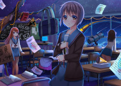 3girls :o arm_support armband asahina_mikuru bag bangs bare_legs belt blue_skirt blush book brown_eyes brown_hair buckle cardigan chalkboard christmas_lights classroom grey_hair guitar holding indoors instrument leaning_forward long_hair long_sleeves looking_at_viewer math megaphone monitor multiple_girls nagato_yuki night night_sky nine_wangwang open_book paper placard road_sign sailor_collar school_bag school_desk school_uniform serafuku shooting_star short_hair sign skirt sky smile standing star_(sky) starry_sky surreal suzumiya_haruhi suzumiya_haruhi_no_yuuutsu swept_bangs tanzaku telescope train tree_branch white_blouse window