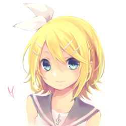 1girl blonde_hair blue_eyes bow hair_ornament hairclip heart kagamine_rin kuroi_(liar-player) looking_at_viewer short_hair simple_background smile solo treble_clef vocaloid white white_background