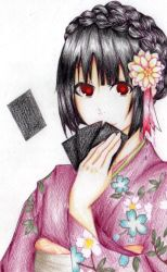 1girl black_hair braid card floral_print flower french_braid hair_flower hair_ornament haru_cyako holding holding_card jabami_yumeko japanese_clothes kakegurui kimono looking_at_viewer mixed_media new_year obi red_eyes sash solo white_background