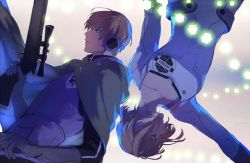 1boy 1girl arm_at_side back-to-back badge bangs blue_eyes bra_strap brown_hair cape closed_mouth cube gloves glowing gun holding holding_gun holding_weapon long_sleeves lupicam narasaka_touru nasu_rei outstretched_arm profile rifle short_hair uniform upper_body upside-down weapon world_trigger