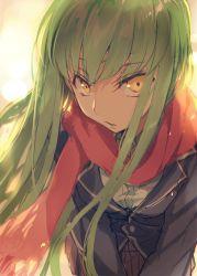 1girl c.c. code_geass creayus green_eyes long_hair looking_at_viewer scarf school_uniform solo yellow_eyes