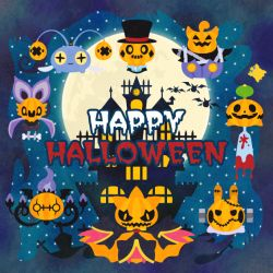 chandelure character_request chinchou full_moon happy_halloween moon night night_sky pokemon pumpkaboo shuppet sky star_(sky) vol