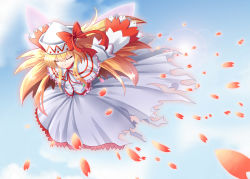 1girl blonde_hair bow dress eyes_closed hat lily_white long_hair petals ribbon rumirumi smile solo touhou wings