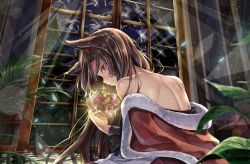 1girl animal_ears back bare_shoulders blurry blush broken_glass brown_hair closed_mouth crown depth_of_field from_behind fur_trim glass glitter glowing imaizumi_kagerou indoors kakao_rantan light_particles long_hair long_sleeves looking_at_viewer moonlight off_shoulder plant potted_plant profile red_eyes royal_robe solo sunlight touhou upper_body wavy_mouth wide_sleeves wolf_ears wolf_girl