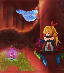1girl black_legwear blonde_hair bloomers brick faux_traditional_media flandre_scarlet flower glowing goma_dango grass hair_ribbon knees_to_chest leg_hug looking_down looking_to_the_side no_hat no_shoes pillar red_eyes ribbon ruins side_ponytail skirt skirt_set solo stone_wall thighhighs touhou underwear wall wings