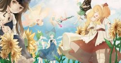 6+girls american_flag_dress american_flag_legwear antennae barefoot black_ribbon blonde_hair blue_bow blue_dress blue_eyes blue_hair bow brown_eyes brown_hair butterfly_wings cirno clownpiece daiyousei day dress etarnity_larva eyes_closed fairy_wings fang fire flower flying green_dress green_hair hair_bow hair_ribbon hat hat_ribbon highres ice ice_wings jester_cap lily_white long_sleeves looking_at_viewer luna_child multiple_girls one_eye_closed orange_hair outdoors pantyhose polka_dot puffy_long_sleeves puffy_sleeves red_ribbon red_skirt ribbon sakuramotoko skirt smile standing star star_print star_sapphire striped sunflower sunny_milk torch touhou white_dress white_hat white_legwear wings yellow_eyes