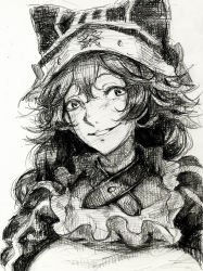 1girl animal_hat braid collar frills hat lupusregina_beta monochrome overlord_(maruyama) puffy_sleeves smile solo twin_braids yang-do