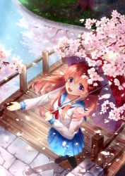 1girl :d absurdres bow bridge brown_hair cherry_blossoms cherry_trees dated gekkan_shoujo_nozaki-kun hair_bow highres long_sleeves open_mouth purple_eyes reflection river sakura_chiyo school_uniform serafuku skirt smile umbrella