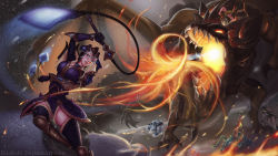 1girl 3boys armor axe blue_eyes boar bola_(weapon) breathing_fire brown_legwear dragon eliskalti fire flail glowing glowing_eyes green_hat hat helmet highres holding holding_weapon horned_helmet league_of_legends multiple_boys olaf open_mouth outdoors parted_lips riding rift_scuttler saddle sejuani standing teemo thighhighs udyr volibear watermark weapon web_address white_hair yordle