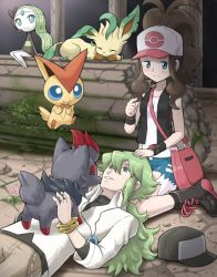 1boy 1girl awkward bag baseball_cap blue_eyes blush boots brown_hair column cross-laced_footwear denim denim_shorts green_eyes green_hair hat jewelry lace-up_boots lap_pillow leafeon long_hair lying meloetta n_(pokemon) necklace on_back on_floor pillar pokemoa pokemon pokemon_(game) pokemon_bw ponytail ruins shorts shoulder_bag sitting touko_(pokemon) vest victini wariza wide_ponytail zorua