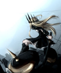 absurdres back bent_knees black_dress black_rock_shooter blonde_hair chariot_(black_rock_shooter) crown dress dutch_angle gyup91 highres holding_weapon long_hair long_sleeves md5_mismatch solo sword weapon wheel wind