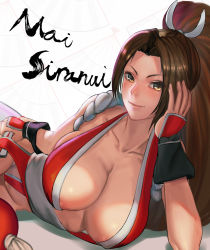 >:) 1girl absurdres areola_slip areolae blush breasts brown_hair character_name cleavage closed_mouth collarbone fatal_fury hair_intakes high_ponytail highres large_breasts long_hair looking_at_viewer lying mayrel on_side revealing_clothes rope seductive_smile shiranui_mai smile solo the_king_of_fighters very_long_hair yellow_eyes