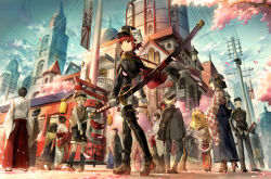 4girls 6+boys chinese_clothes crowd elsword elsword_(character) japanese_clothes katana looking_at_viewer mask mask_removed multiple_boys multiple_girls red_eyes red_hair scorpion5050 sword uniform weapon