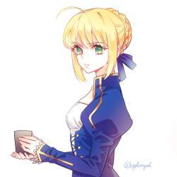 1girl ahoge blonde_hair byulrorqual cup dress fate/stay_night fate_(series) green_eyes saber solo
