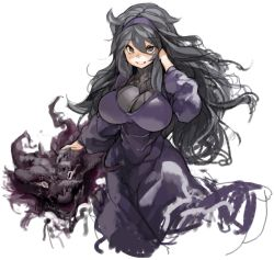 1girl ahoge black_eyes black_hair breasts hairband haunter hex_maniac_(pokemon) large_breasts long_hair npc_trainer parted_lips pokemon pokemon_(game) pokemon_xy sachito simple_background smile solo white_background