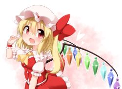 1girl ascot asymmetrical_hair blonde_hair blush bow commentary_request crystal fang flandre_scarlet frilled_skirt frills hat hat_bow heart mob_cap open_mouth puffy_short_sleeves puffy_sleeves rainbow_order red_bow red_eyes short_sleeves side_ponytail skirt smile solo suwa_yasai touhou v wings wrist_cuffs